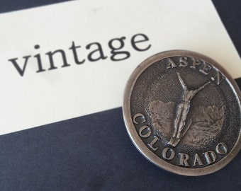 Vintage Aspen Brass Belt Buckle 1970s Lovely