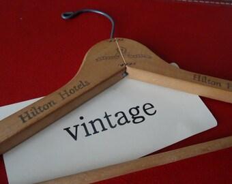 Vintage Wooden Hilton Hotel Coat Hanger