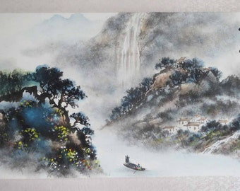 Original Chinese painting-Natural Scenery(Mountain River and Boat)