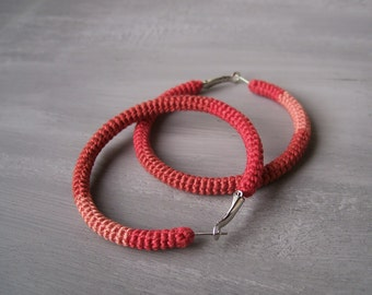 Crochet Hoop Earrings, Salmon Orange Hoops