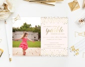 She Leaves a Little Sparkle Wherever She Goes® - Girl Sparkle Confetti Birthday Invitation - Glitter Confetti Sparkle - 1st 2nd 3rd 4th 5th