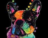 Womans Short Sleeve Blacklight Top French Bulldog T Shirt  Neon Florescent Dog Print to USA 19042NBT4