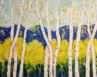 Birch Aspen Trees Original Acrylic  Painting Wall Art on 48 x 30 x 1.25 Gallery Wrapped Ships in commission this 5 business days