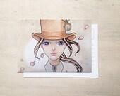 Waiting Under The Moon - Whimsical Art Postcard - Small Art Print