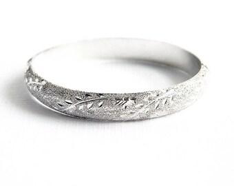 Vintage Sterling Silver Etched Bangle Bracelet - Flowers Vines - Bridal Jewelry - Something Old Wedding Day Bracelet - SIGNED - 12 Grams