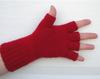 Hand Knit Half Finger Pure Soft WOOL Gloves in RED / Grey, Black, White, Plum, Moss Green, Natural White, Seafoam