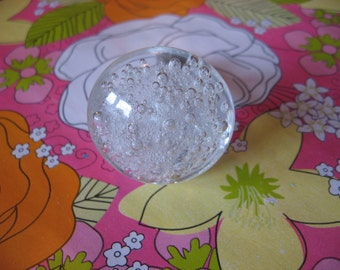 2 GLASS KNOBS With Bubbles Whimsical Glass Knobs Air Bubble Clear Glass Pulls for Cabinets Drawers B-24