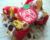 Back to School Apple Boutique Style Hair Bow Red Yellow Black