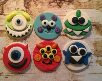Monsters Fondant Cupcake/Cake/Cookie Toppers set of 12 (one dozen)