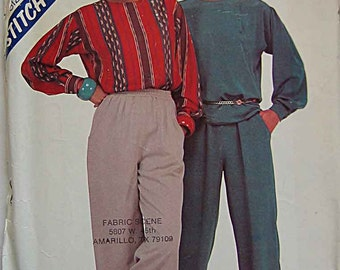 Retro 80's Misses' Pullover Top and Pull-on Pants Stitch n' Save McCall's 8213 Pattern UNCUT Sizes 6, 8, 10