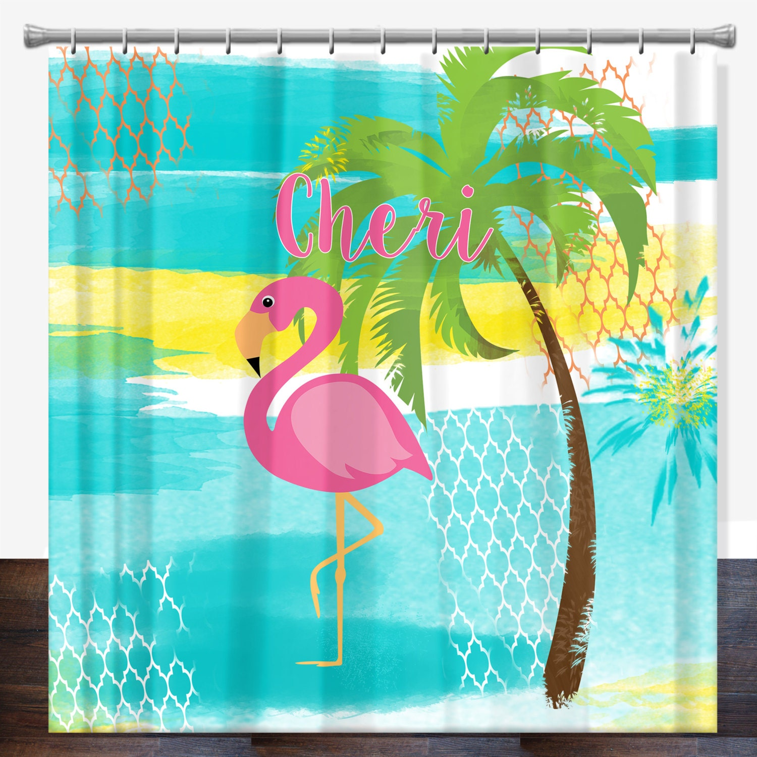 Pink Flamingo Personalized Shower Curtain Pink Flamingo