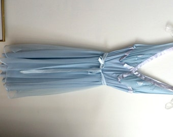 Vintage Lingerie / Pale Blue Chiffon Nightie / Layers of Chiffon / Vintage Nightgown / Label Reads Michelene Nylon 32 / Plunging V