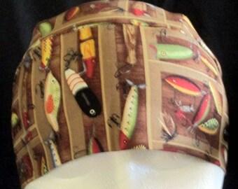 Skull Cap or Chemo Cap, Hat, Fishing Lures, Brown, Hair Loss, Head Wrap, Bald, Motorcycle, Helmet liner, Head Cover, Handmade, Alopecia