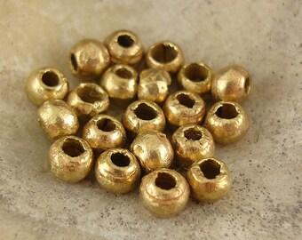 Brass Beads, Metal Beads, Rustic Brass Bead, 4mm Bead, African Metal Bead - 25 Beads
