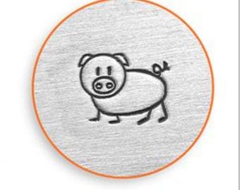 "Metal Stamp-""Pig""  Oinky Metal Design Stamp ImpressArt- 6mm Metal Stamping Tool-Steel Stamp-Metal Supply Chick"