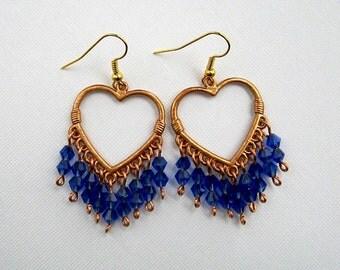Copper Heart Cobalt Blue Crystal Chandelier Earrings Cobalt Blue Earrings Copper and Blue Earrings