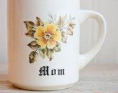 Vintage Personalized  Mom Mug, Mug for Mom, Retro Gift Mug, Yellow Flower, Retro Mom Mug, 1970s, Wildflower, Vintage Mothers Day Mug
