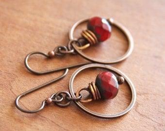 Red Czech Glass Hoop Earrings, Red Dangle Hoop Earrings