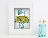 "Bike Kansas Printable Wall Art, Digital Download, Home Wall Decor 8""x10"" (Jpeg Files) - INSTANT DOWNLOAD   -- Bike Print"