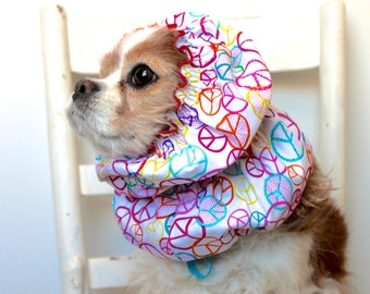 Peace Signs Dog Snood, Stay Put 3 Row Elastic Threads, Cavalier King Charles or Cocker Snood, Loopy Snood