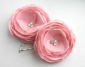 Chiffon Flower Hair Pins, Anitque Pink Flower Hair Clips, Dusty Pink, Bridal Accessroy, Bridesmaid, Flower Girl Accessory, Wedding Hair Clip