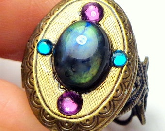SALE, Labradorite, Swarovski Crystal, Antiqued Brass, Adjustable Locket Ring,Dark Metal Noir,Edwardian Fantasy,Neo Victorian,Gothic Jewellry