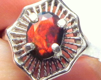 SALE,Sz 7,Black Welo Opal,Sterling Silver Ring, Ethiopian Opal Ring,Red,Yellow,Orange,Green Fire,Edwardian Style,Ornate Ring,Mystical Stone
