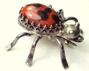 Navajo Spider Brooch, Sterling Silver,Black & Red Jasper,Vintage Jewelry,Native American Hand Crafted,Indian Jewellry,Bug Brooch,OOAK