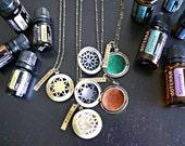 Essential Oil Brass Locket - Essential Oil Locket - Diffuser Locket - Aromatherapy Necklace - Personalized Essential Oil Necklace