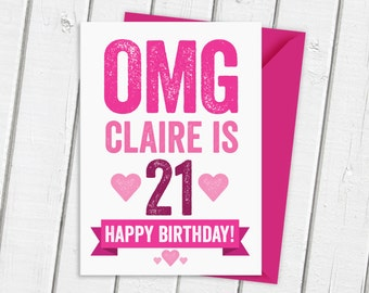 OMG 21st Birthday Card Personalised in Pink