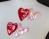 Cute embroidered  and beaded    heart  applique  with sequins 2   piece listing