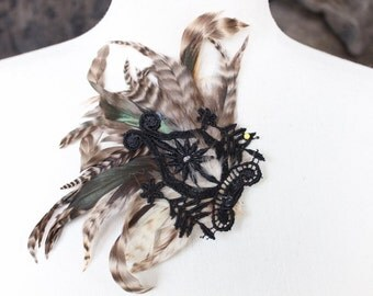 Black and green   color  feather applique   100 %  handmade   1 pieces listing