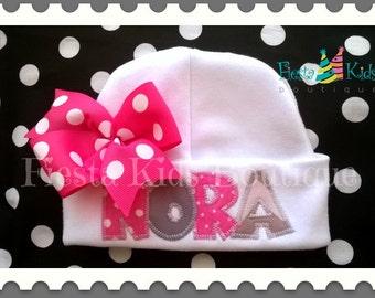 Newborn girl hat, baby hat with name, girl hat with bow, baby girl hat, newborn clothes, infant beanie, custom baby hat, baby headwear