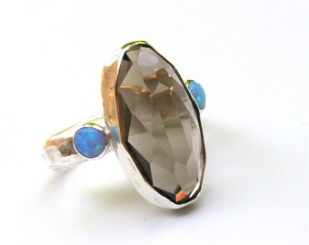 Boho Ring Gold, Raw Opal Ring, Raw Stone Ring,Blue Opal Ring, Blue Stone Ring, Boho Ring, Opal Ring, Silver Ring,Gift for her, birthday gift