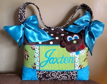 Large 3D Monkey Appliqué Theme Baby Boy Unisex Diaper Bag Custom Handmade Designed Turquoise Brown Lime Green Bows 3 Big Deep Pockets Polka