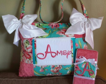 Amy Butler love collection fabric LARGE baby girl diaper bag coral minky teal cotton 5 pockets with matching wipe case HUGE white satin bows