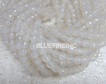 46 pcs beads 8mm round faceted Natural White color agate beads