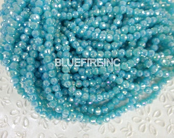 20 inch long Silve Blue color round Chinese crystal in 6mm
