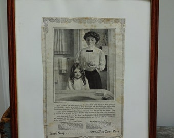 Vintage Ivory Soap Mother and Child Hairwashing Print