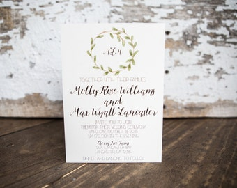 Laurel Wreath Wedding Invitation, Shabby Chic Invitation- Laurel Wedding Suite : A7 Wedding Invitations