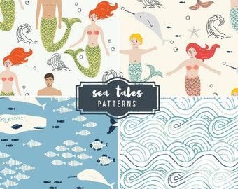 CLIP ART - Sea Tales Patterns - for commercial and personal use
