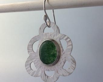 Hammered Sterling, Green Aventurine Earrings, Handmade