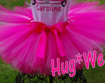 Pink Fire truck Birthday tutu in Pinks  (Tutu only)