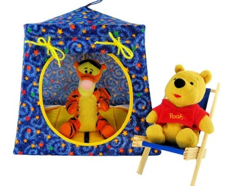 Toy Pop Up Tent, Sleeping Bags, blue, star print sparkle fabric for dolls, action figures or stuffed animals