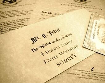 Personalized Hogwarts Acceptance Letter with Parchment Envelope - Custom Harry Potter Letter