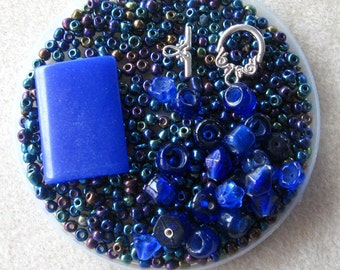 DIY Jewelry kit, Seed Bead Kit, Glass Beads, Sky Blue Quartz Pendant, Blue Beads, Beads for Jewelry Making, Necklace Design, Craft Supplies