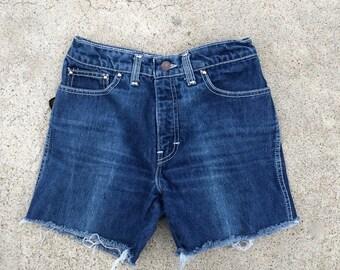 27 Inch Sasson Mid Rise Dark Wash Vintage Cut Offs Sasson Jeans Shorts Small  Women Men 27 waist