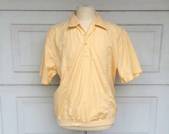 Haband Light Yellow Embroidered Vintage Guayabera Short Sleeve Mexican Wedding Shirt Cotton Safari Shirt Large Men