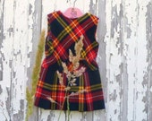 vintage scotch plaid little girls dress // size 2T to 4