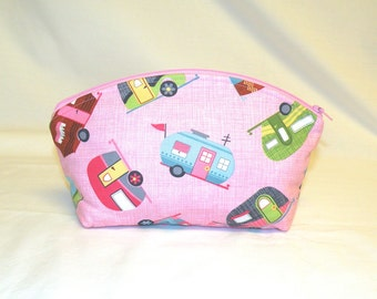 XL Domed Make-Up Bag in Kitschy Trailer Print on Pink Background